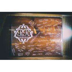 Brązowe Pudełko z grawerem. Na Obrączki ślubne.